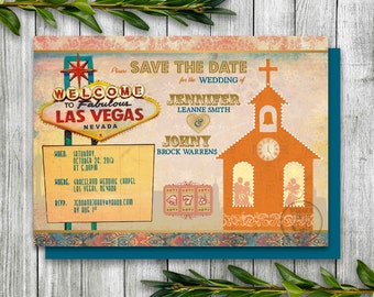 Las Vegas Save the Date for Destination Wedding, Printable Save the Date Postcard with Las Vegas Chapel, Las Vegas Postcard with Elvis