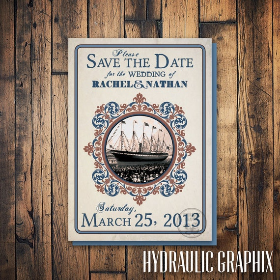 Cruise Ship Save the Date for Wedding, Boat Save the Date Postcard, Vintage Nautical Wedding Invitation, Boat Wedding, Nautical Wedding