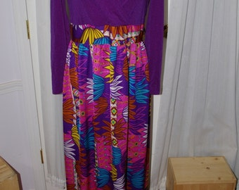 Maxi Psychedelic Dress Hawaiian Purple Pink 60's 70's Vintage XL Tall Long Mod