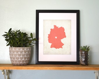 Germany Country Map. Personalized Germany Art. Country Wedding Map. Wedding Gift. Travel Keepsake Map Gift. 8x10 Art Print.