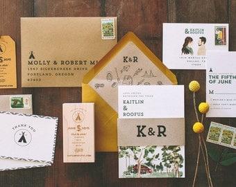 Rustic Watercolor Camp Vibes Wedding Invitation