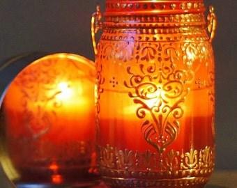 Hanging Jar Lantern, Painted Mason Jar Lamp, Gift for Her, Boho Jar Lantern, Bohemian Mason Jar Decor, Ruby Red Glass with Copper Detailing