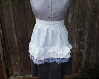 Upcycled Clothing, Maid Servant Dress from Little Orphan Annie - Grey Cotton Dress with White Apron Cotton Eyelet, Ladies Medium
