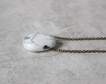 SALE 20% OFF - Marble Stone Necklace, Layering Necklace, Howlite Necklace, Pendant Necklace