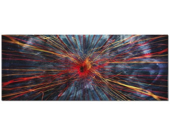 Abstract Painting - 'Implosion' - Large Abstract Art, Charcoal w/ Red & Blue Streaks - Dark Modern Art - Contemporary Wall Art