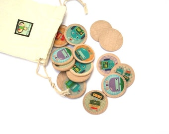 Robots Wooden Matching Game - Montessori Toys - Waldorf Toy - Eco Friendly Wooden - Travel Game