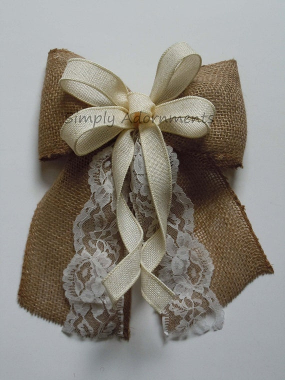 Ivory Lace and Burlap Wedding Bow Vintage Burlap and Lace Wedding Aisle Bow Rustic Burlap Country Wedding Chair Bow