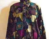 Insane 80s Black Velvet Jacket with Abstract Designs, Ice Nine Zip up Bomber Jacket