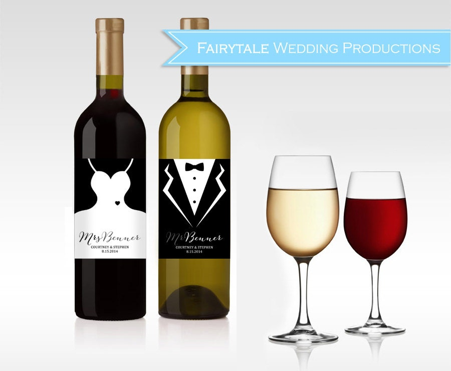 personalized wedding dress tuxedo wine bottle labels