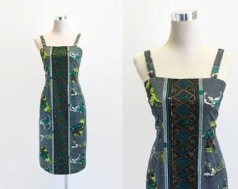 1960's Dress - Novelty Print - Metal Zipper - 60's Vintage Dress - Cotton Summer Dress