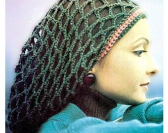 "Vintage 70's Crochet Slouchy Rasta Tam ""SNOOD"" Hat - PDF Pattern - Instant Download"