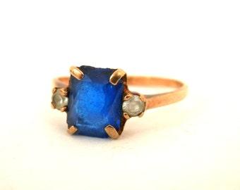 Retro 10K Gold Blue Sapphire Ring sz 4 1/2