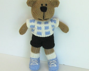Hand Knit Toy - Stuffed Teddy Bear - Knitted Bear - Kids Toy - Stuff Animal - Knitted Teddy Bear - Plush Doll - Small Toy - Teddy Bear Ethan