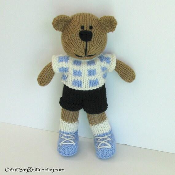 Hand Knit Toy - Stuffed Teddy Bear - Knitted Bear - Kids Toy - Stuff Animal - Knitted Teddy Bear - Plush Doll - Small Toy - Teddy Bear Ethan