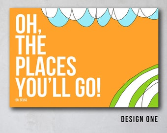 Oh the Places You'll Go | Seuss Inspired Wall Art | Canvas Art Decor | Typography Quote Print | As seen Project Nursery