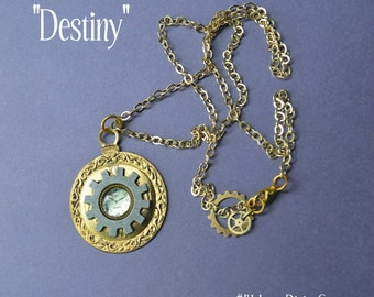 Steampunk Necklace, Gold Pocket Watch with Clock Face & Watch Gears on Gold Chain. By Alchemy Divine Couture