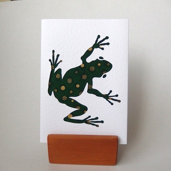 "Green Frog Greeting Card with fabric - 6"" x 4"" white textured with envelope.  Blank card. Funky Frog. Handmade Cards. Hop hop. gold accents."