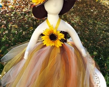 SCARECROW Tutu Dress Costume- HAT INCLUDED- Halloween- Fall Festival- Wizard of Oz Costume