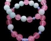 Pink Quartz Bracelet Set with Lotus Charm, Bohemian Jewelry, Boho Bracelet Stack, Blue and Pink Bracelet Set, Boho Beaded Bracelet