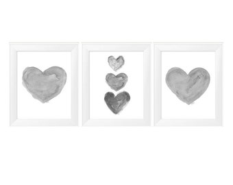 Gray Wall Art, Set of 3 - 11x14 Watercolor Prints, Gray Nursery Art, Neutral Nursery Art, Gray Art, Neutral Art, Black and White Art