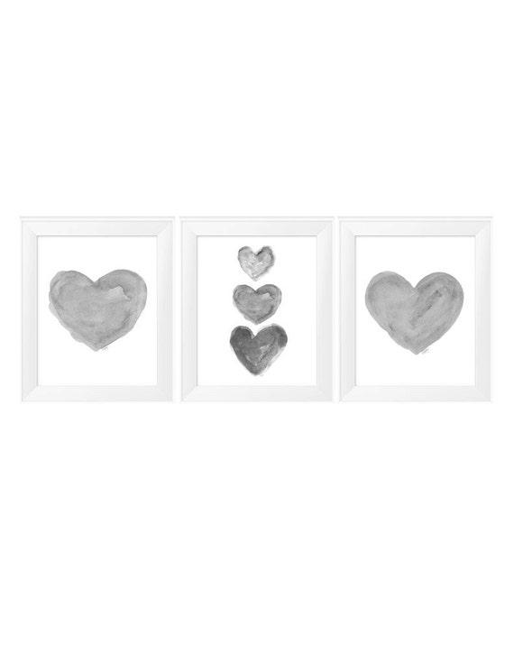 Neutral Nursery Art Prints, Set of 3 - 11x14 Heart Prints