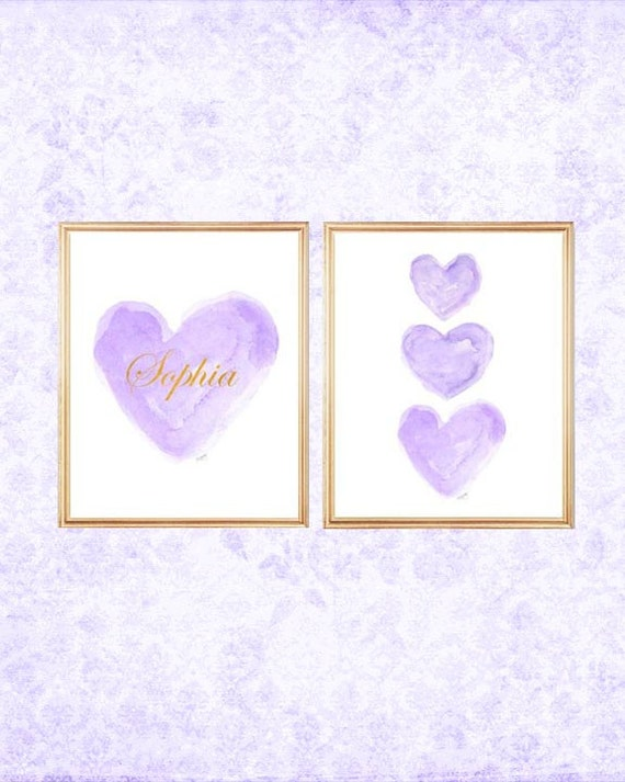 Lavender and Gold Heart Prints for Nursery, Set of 2 - 8x10