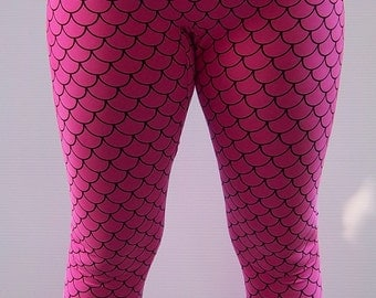 Pink Mermaid Leggings, Printed Leggings, Yoga Pants, Running Pants