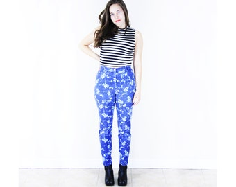 Floral Skinny Jeans . 1990s High Waisted Jeans floral print jeans floral jeans skinny leg pants skinny pants 90s grunge jeans hipster