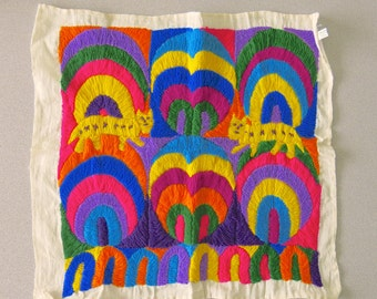 Guatemalan Panos Hand Embroidered cotton, Vintage political art panel