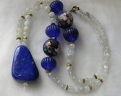 Antique Chinese glass beads w vintage cloisonne beads w Lapis lazuli pendant & moonstone beads necklace , beaded jewelry , lapis jewelry