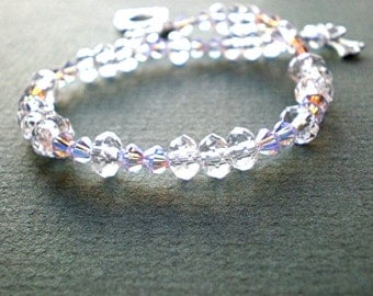 Swarovski crystal bracelet - clear crystal bracelet, 8 inch beaded bracelet, crystal jewelry, gift for her, wire strung beads, toggle clasp