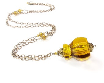 Antique glass drawer pull necklace hardware necklace amber necklace vintage assemblage necklace
