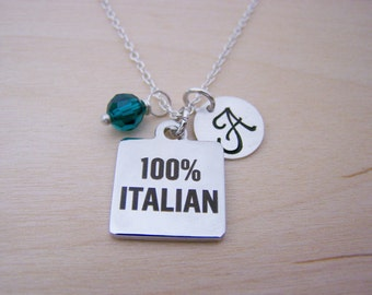 100% Italian Charm Necklace -  Swarovski Birthstone Initial Personalized Sterling Silver Necklace / Gift for Her - Italian Charm