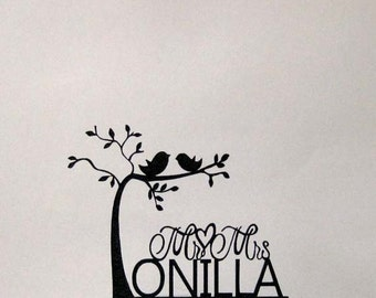 Personalized Wedding Cake Topper - two birds on tree with Mr & Mrs last name