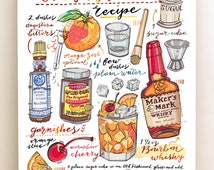 Old Fashioned Cocktail print. Illustration. Bar Decor. Food and Drink art. Kitchen decor. Whisky. Bourbon. Classic cocktail.