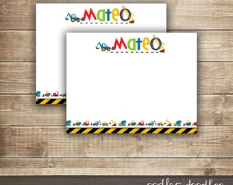 Personalized Construction Stationery, Construction Note Cards, Construction Birthday, Boy's Personal Stationery, Printable