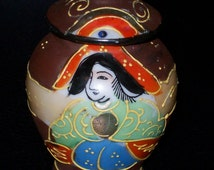 Moriyama Mori Machi Miniature Ginger Jar with Lid/ Nippon pottery/ Hand painted Japanese porcelain/ Moriyama pottery/ Moriyama porcelain