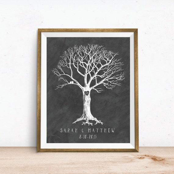 Art Print Wedding Gift : Wedding Gift Tree Art Print. Custom Personalized Wedding Tree Art ...