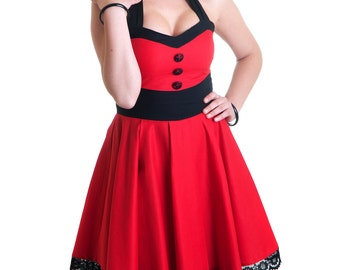Red Fever rockabilly retro dress black cotton lace buttons vintage 50's round skirt pin-up style prom - Handmade in Italy Limited Edition