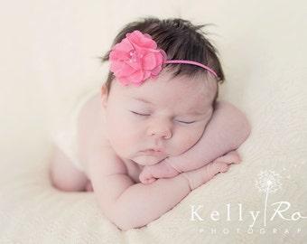 Pink Baby Headband, Baby Headband Flower, Flower Headband, Flower Girl Headband, Pink Headband, Rhinestone Headband, Baby Headband