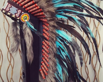 Y33 - Medium Turquoise Feather Headdress (36 inch long ).