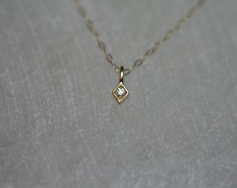 Seriously Tiny Diamond Solitaire Necklace / 14K Solid Gold Yellow, Rose, White / Charm, Kite, Delicate, Dainty, Modern, Minimalist, Minimal