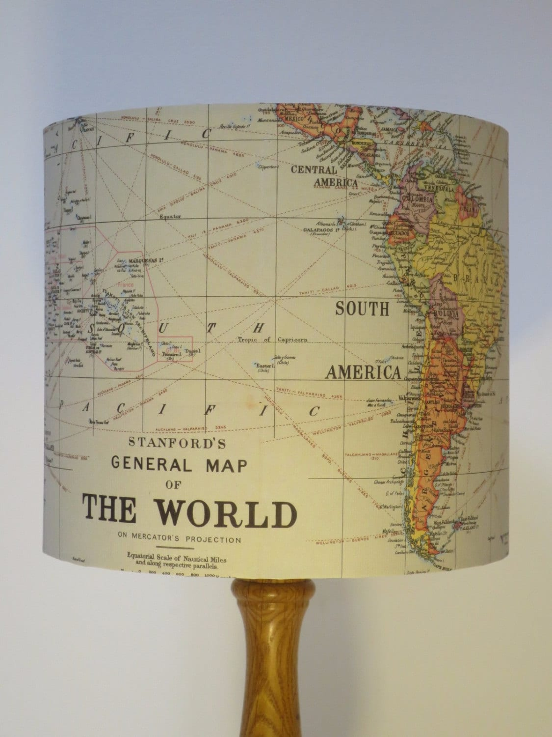 Handmade Map of the World Paper Drum Lampshade Small Lampshade