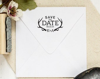 Rustic DIY Wedding Stamp with Antlers. Save The Date Rubber Stamp, Custom Wedding Invitation Stamp. Custom Rubber Stamp 2 x 1.5