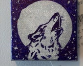 Wolf art magnet on Mini canvas