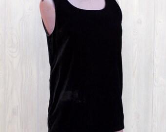 1980s Yves Saint Laurent Sleeveless black velvet top