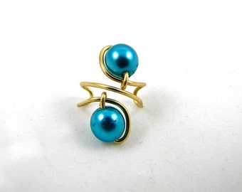 Gold Simple Swirl Ear Cuff with Blue Twin Beads