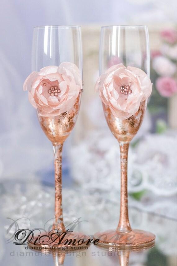 Rose Gold Wedding Glasses Champagne Flutes Bronze Wedding