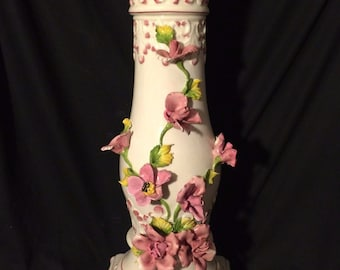 Beautiful High Detailed Tall Italian Pedestal Column Plant Vase Stand  Base Made in Italy Pink Flowers