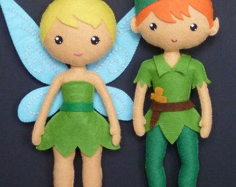 PDF sewing pattern to make a felt Fairy and a felt Peter Pan.